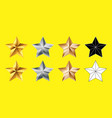 set stars shape collection gold silver bronze vector image