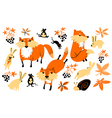 set with animals and florals in childrens style vector image