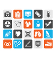 Silhouette medical tools and health care equipment vector image