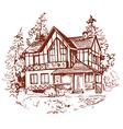 sketch house prewew vector image