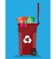 trash recycle bin container full of plastic things vector image