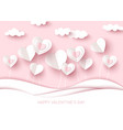 valentine day background white cut paper heart vector image vector image