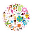 Summer holiday design set on white background vector image