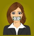 woman wuth hundred dollar bill taped to mouth vector image