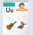 alphabet tracing worksheet with letter u and u vector image vector image