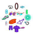 bicycling icons set in cartoon style vector image vector image