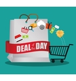 Big bag gift deals day offer shop cart vector image