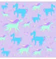 Blue and green unicorns with stars on a violet vector image vector image