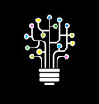 bulb icon with circuit board vector image vector image