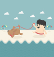 Business and dog play on the beach vector image
