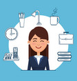 businesswoman with business set icons vector image