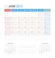 calendar planner for june 2018 vector image vector image