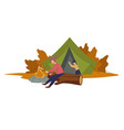 camping people bonfire character in tent and vector image vector image