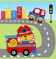 cartoon rescue team on road vector image vector image