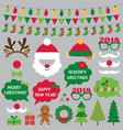 christmas and new year photo booth props vector image vector image