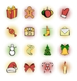 Christmas comics icons set vector image vector image