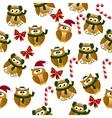 christmas owl in santa hat vector image vector image