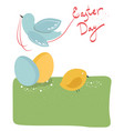 composition two easter eggs a chick and a bird vector image vector image