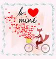 cute cartoon fox ride bicycle in spring theme vector image vector image