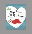 cute cartoon sleeping sloth card vector image