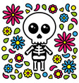 cute skeleton character day of the dead flowers vector image vector image