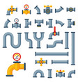 details pipes different types collection of water vector image vector image