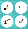flat icon hammer set of justice law crime and vector image
