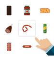 flat icon meal set of kielbasa bratwurst meat vector image vector image