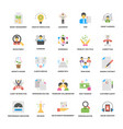 flat icons set of business and management vector image vector image