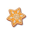 gingerbread snowflake cookie isolated vector image vector image