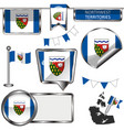 glossy icons with flag of province northwest vector image vector image