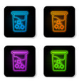 glowing neon glass with water icon isolated on vector image vector image