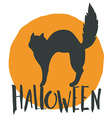 Happy halloween emblem with a black cat and hand vector image