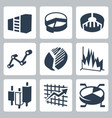 isolated graphs and charts icons set vector image