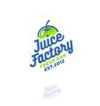 juice factory logo smoothie detox juice apple drin vector image