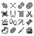 Knitting hand made icons set on white background