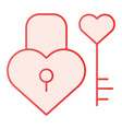 lock and key in heart shape flat icon love vector image vector image