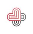 logo two hearts nestled so similar vector image vector image