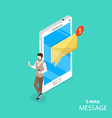 mobile e-mail notification flat isometric vector image vector image