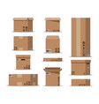 pile cardboard boxes set vector image