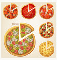 pizza top view set vector image vector image