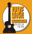 poster for live music concert with guitar vector image vector image