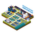 purification plant isometric composition vector image vector image
