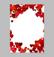 red colored random heart page background design vector image vector image