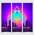 retro futurism banner set futuristic synth vector image