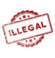 scratched textured illegal text stamp seal vector image