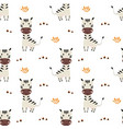 seamless pattern with cute zebra baby animals vector image