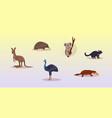 set cartoon endangered wild australian animals vector image vector image