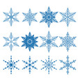 set of 12 blue snowflakes vector image vector image