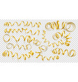 set realistic gold ribbons on transparency vector image vector image
